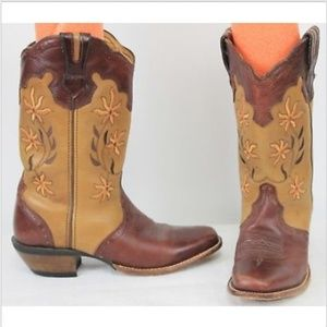 Rocky Western Boots Brown Orange Flowers Embroider